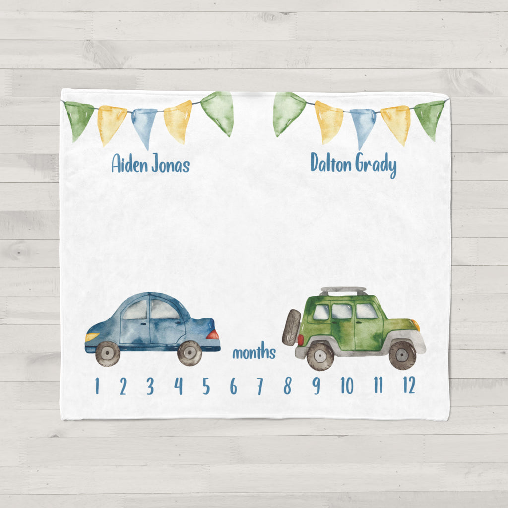 Cars & Trucks Milestone Baby Blanket for Twins