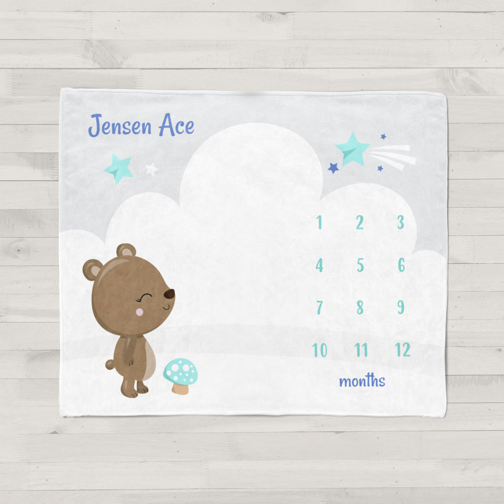 Baby Bear Personalized Milestone Baby Blanket