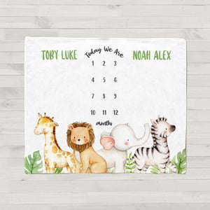 Jungle Animals Boy Milestone Baby Blanket for Twins