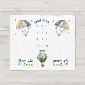 Flying High Hot Air Balloon Milestone Baby Blanket for Twins