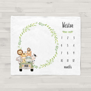 Weston Jungle Jeep Personalized Milestone Baby Blanket