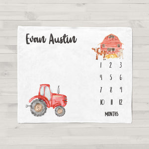 Little Red Tractor Personalized Milestone Baby Blanket