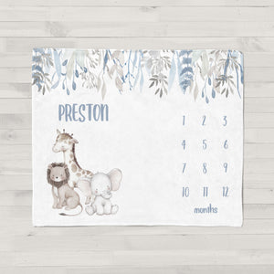 Preston Safari Animals Personalized Milestone Baby Blanket