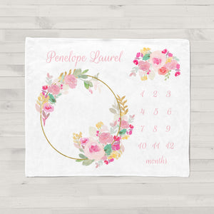 Pink Floral Wreath Personalized Monthly Milestone Baby Blanket
