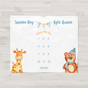 Toy Animals Milestone Baby Blanket for Twins