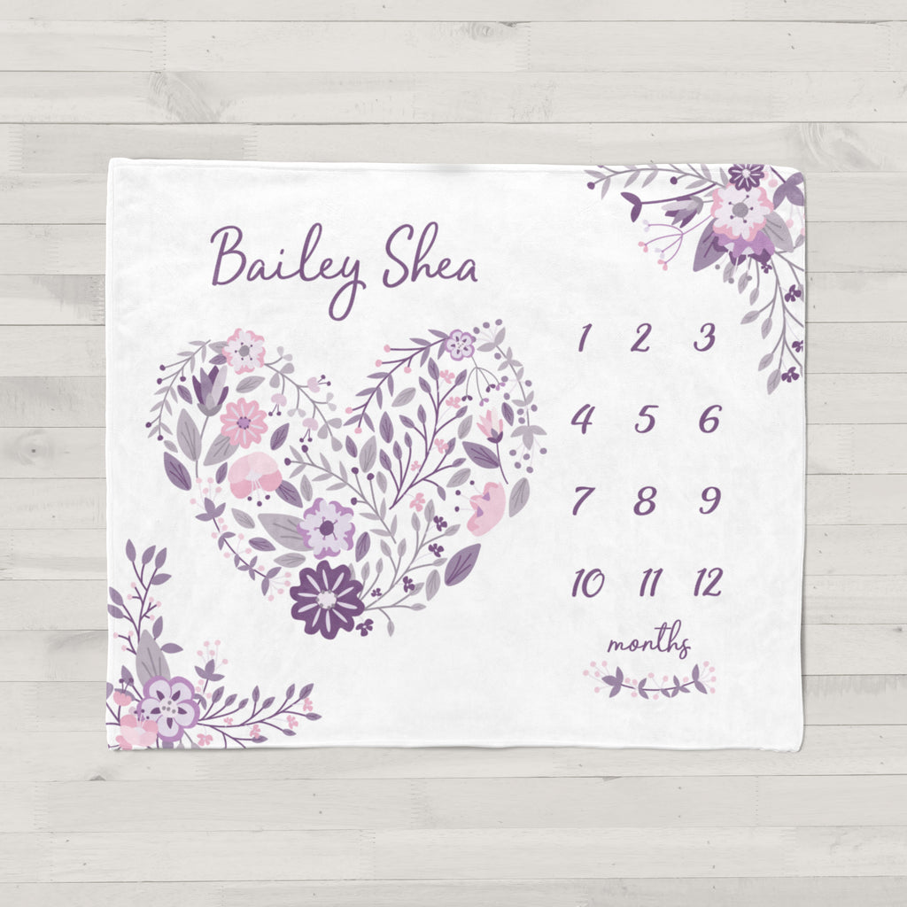 Purple Floral Milestone Minky Baby Blanket for Girls