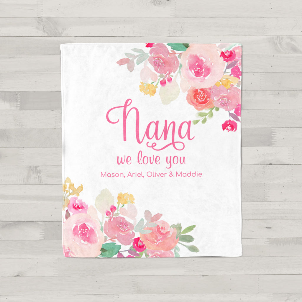 Pink Gardens Personalized Adult Blanket Gifts for Nana