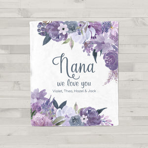 Purple Petals Personalized Adult Blanket Nana Gift