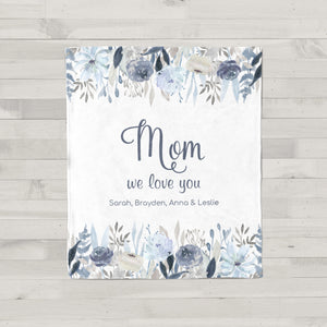 Fields of Blue Personalized Blanket for Mom