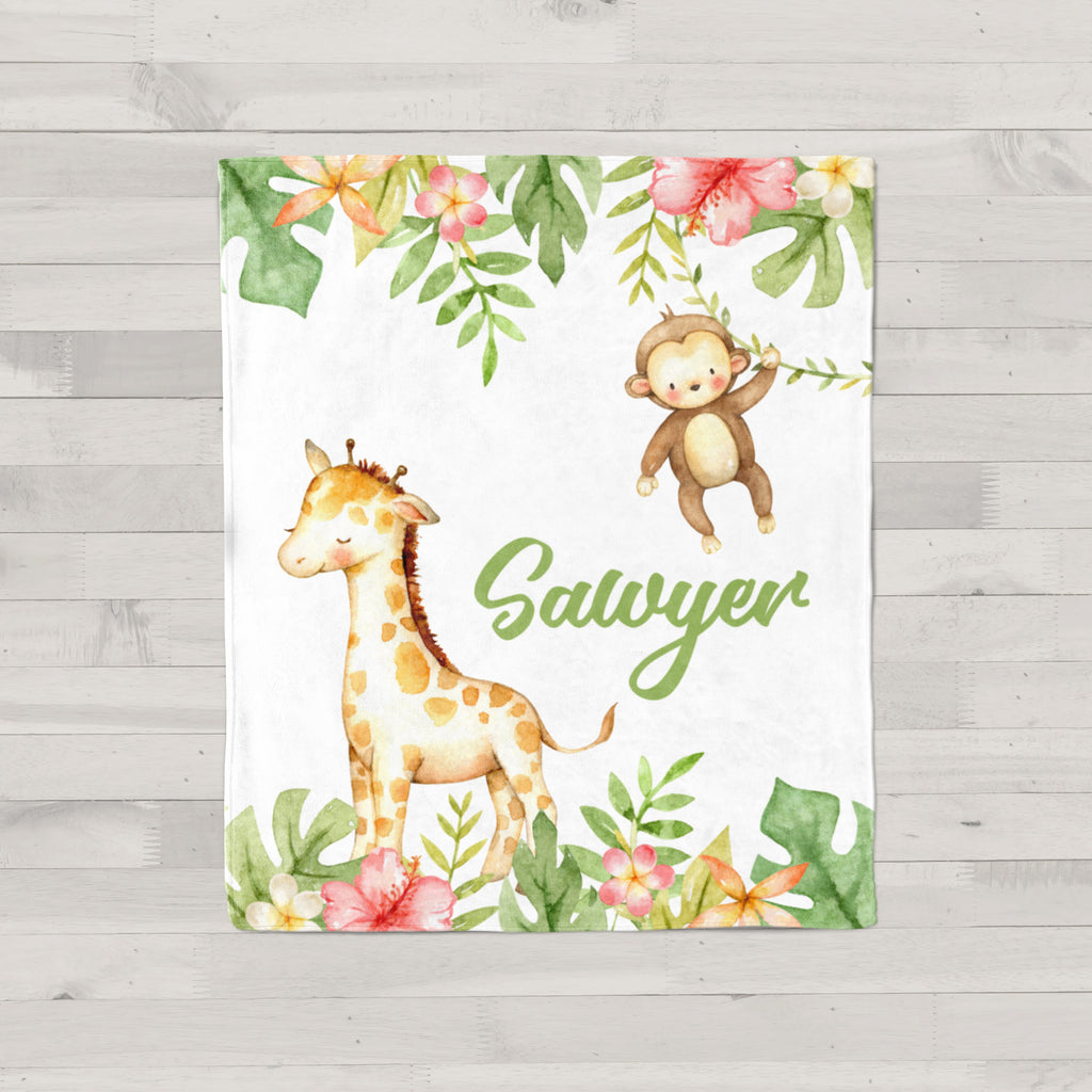 Swinging Monkey Personalized Minky Blanket