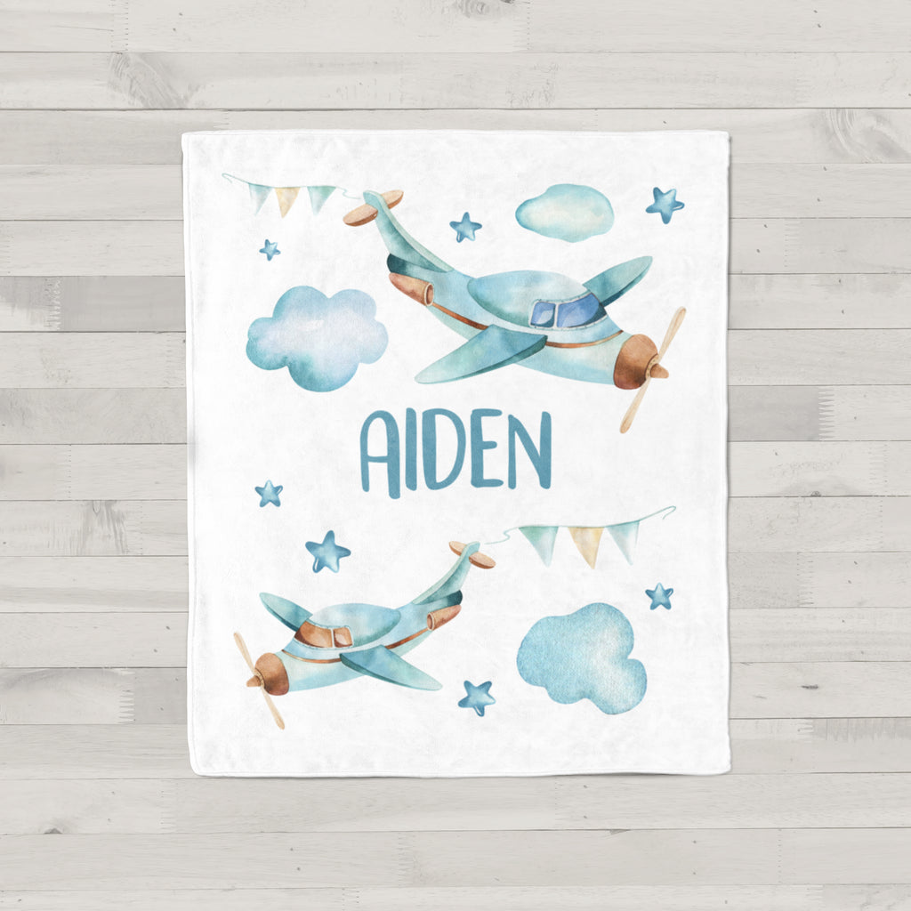Blue Airplanes Personalized Minky Blanket
