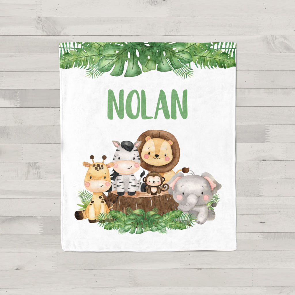 Jungle Animals Personalized Minky Blanket
