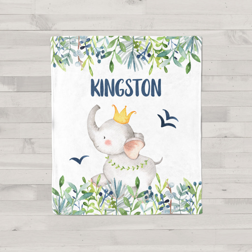Kingston Elephant Personalized Minky Blanket
