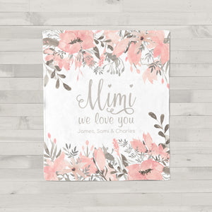 Pretty in Pink Personalized Adult Blanket for Mimi