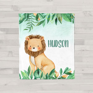 Jungle Safari Lion Personalized Minky Baby Blanket