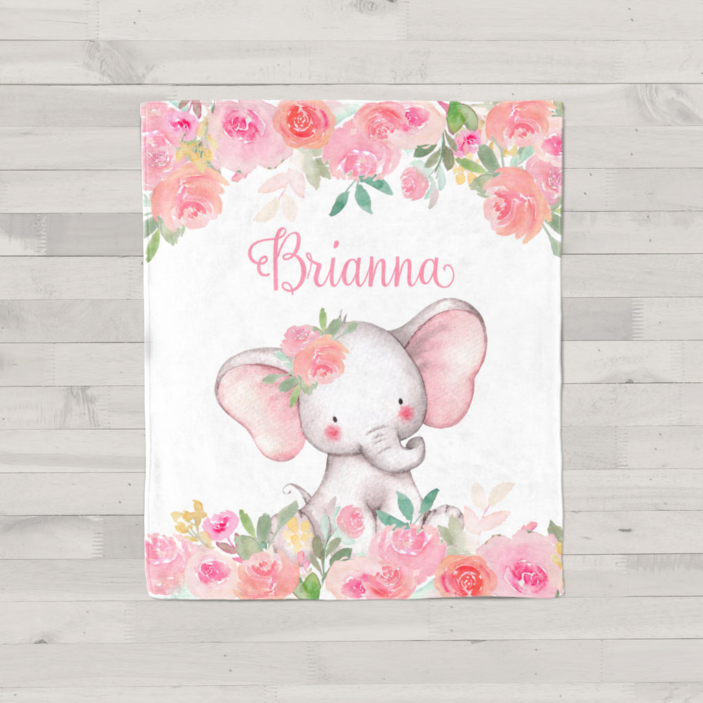 Pink Floral Elephant Personalized Minky Blanket