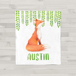 Watercolor Fox Personalized Minky Baby Blanket