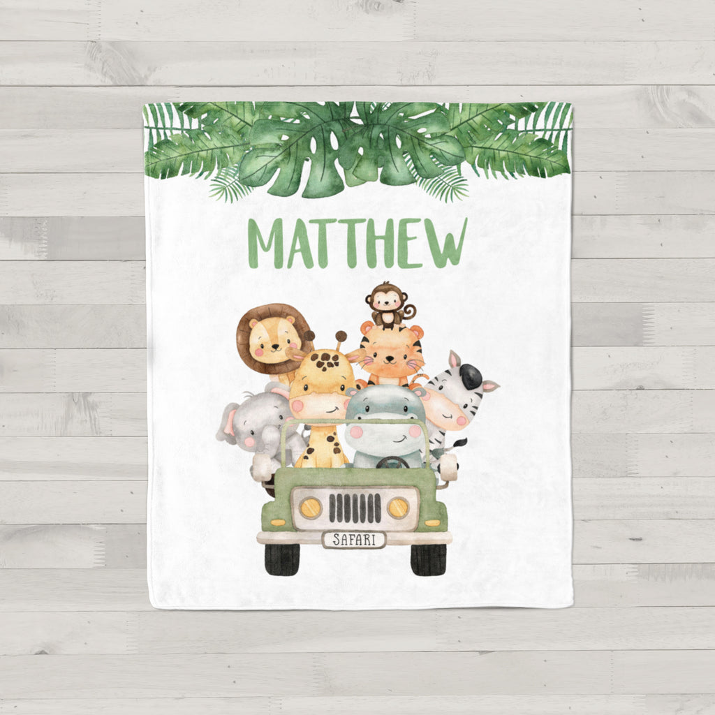 Jungle Safari Animals Personalized Minky Baby Blanket for Boys
