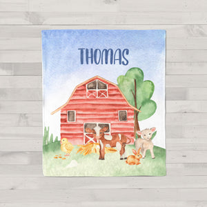 On the Farm Animals Personalized Minky Blanket for Babies