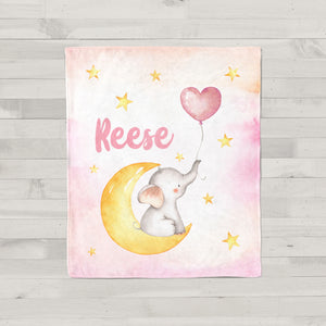 Pink Baby Elephant Personalized Minky Baby Blanket for Girls