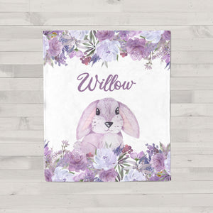 Purple Floral Bunny Personalized Minky Blanket