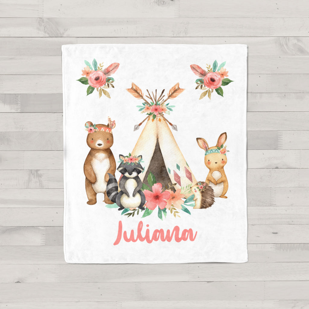 Juliana Tribal Personalized Minky Blanket