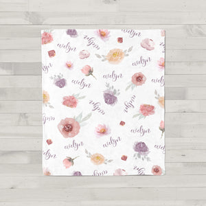 Evelyn Dusty Florals Personalized Baby Blanket for Baby Girls
