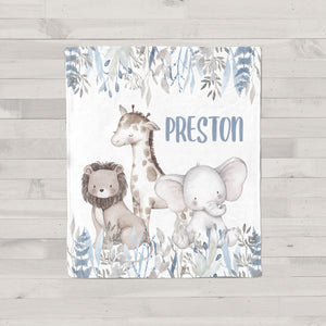 Preston Safari Animals Personalized Minky Blanket