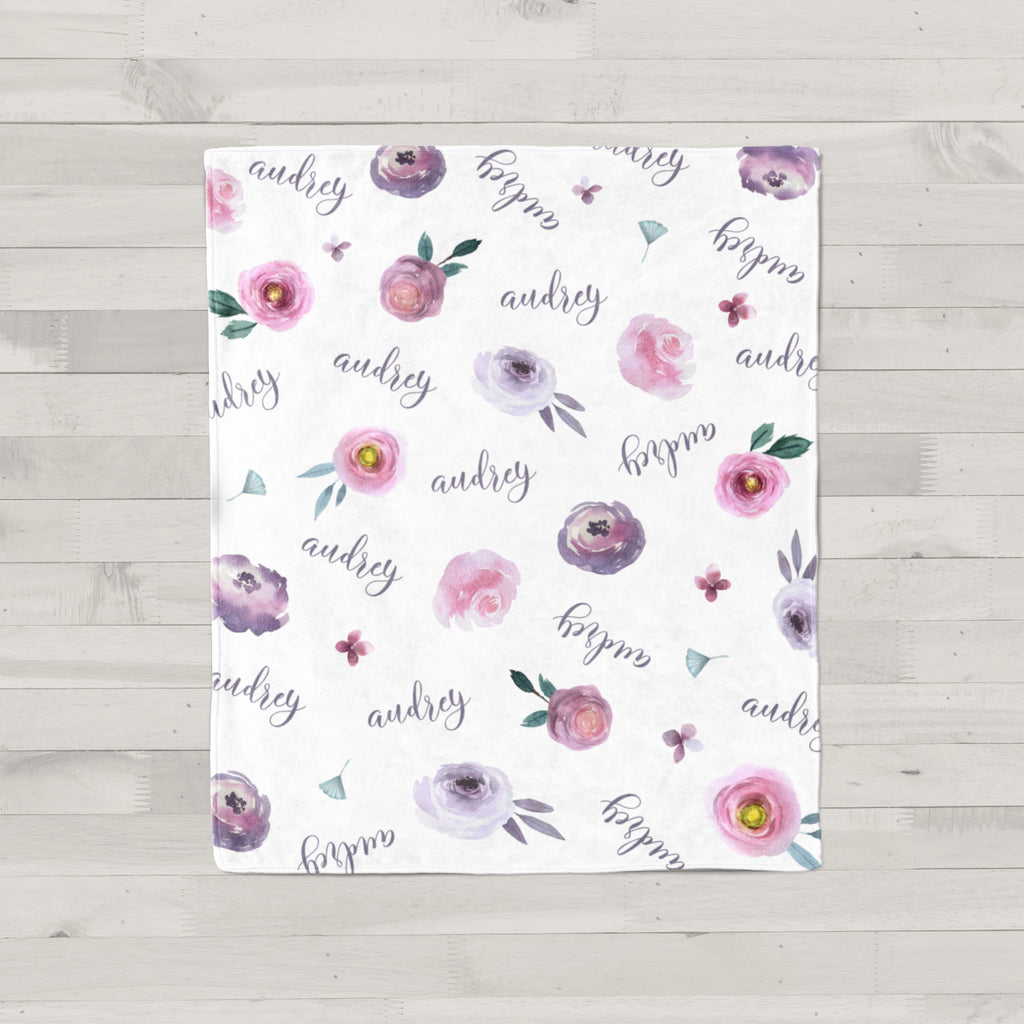 Audrey Watercolor Floral Personalized Name Baby Blanket