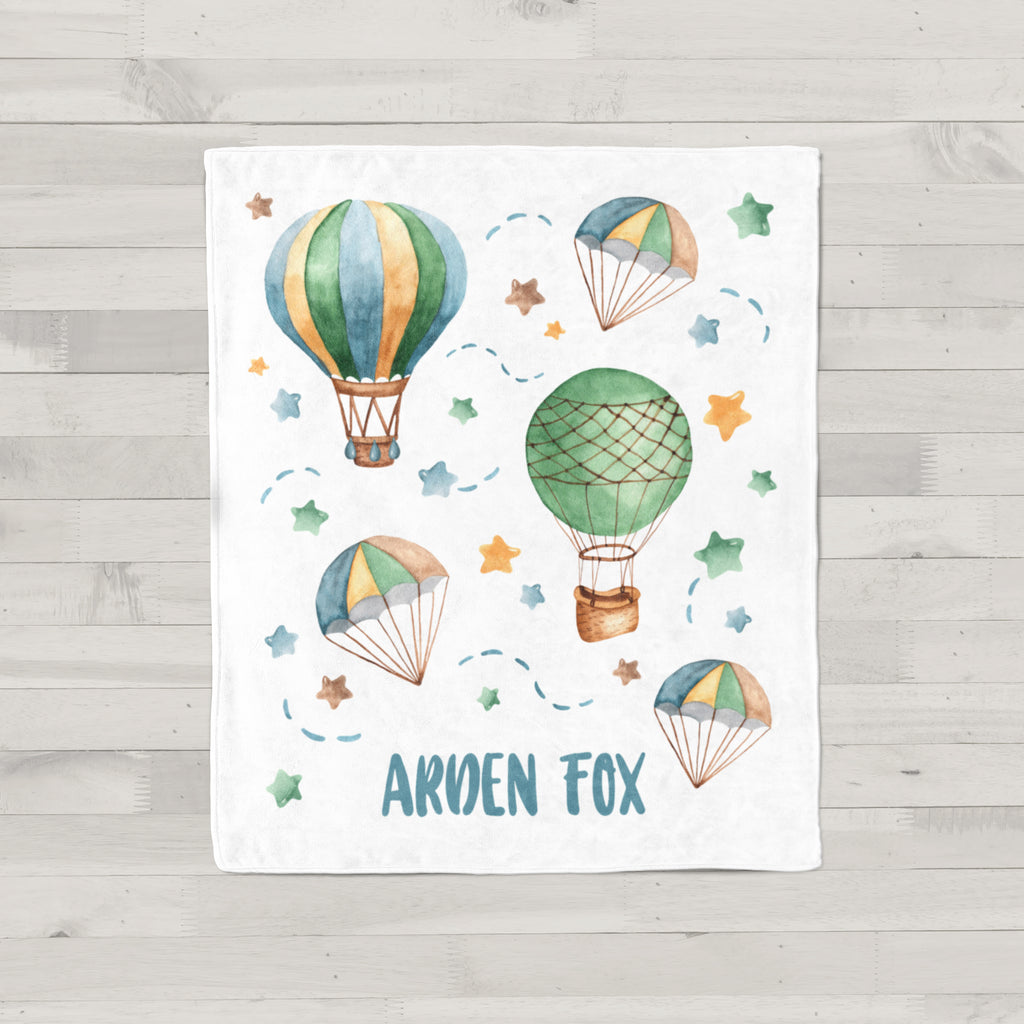 Hot Air Balloon Personalized Minky Baby Blanket