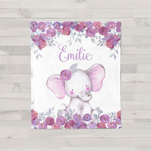 Purple Floral Elephant Personalized Minky Blanket
