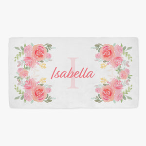 Isabella Floral Initial Personalized Minky Crib Sheet Baby Bedding