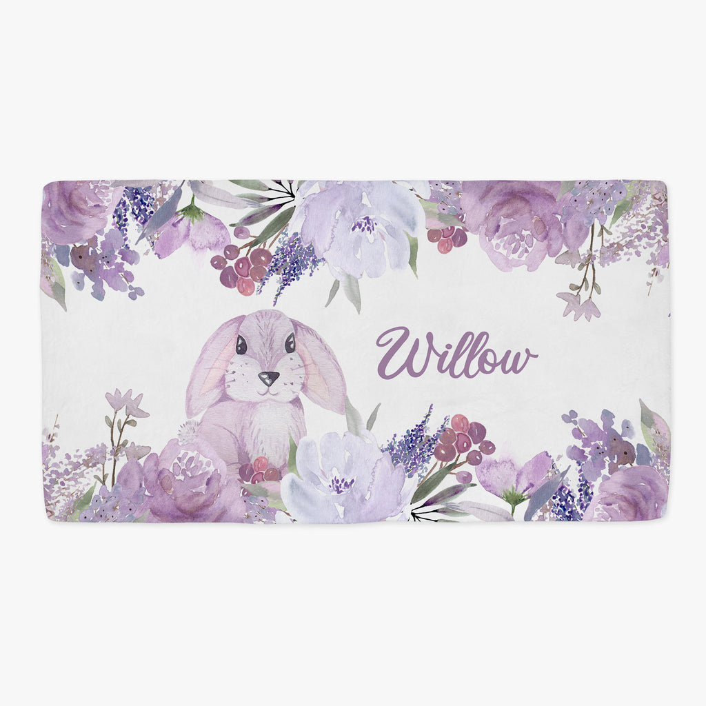 Willow Bunny Personalized Minky Fitted Crib Sheet for Baby Girls