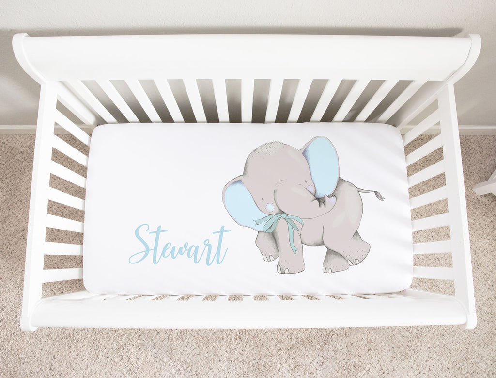 Stewart Blue Elephant Minky Personalized Crib Sheet Baby Boy Bedding