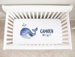 Nautical Whale Minky Personalized Crib Sheet for Baby Boys