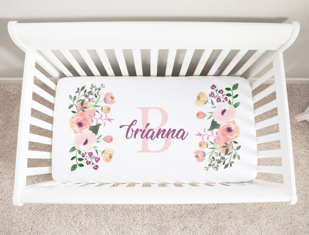 Brianna Floral Initial Minky Personalized Crib Sheet Baby Girl Nursery Decor