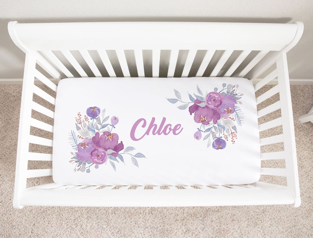 Chloe Purple Floral Minky Personalized Crib Sheet for Girls