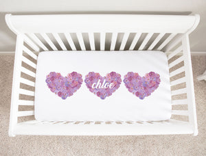 Purple Floral Hearts Minky Personalized Crib Sheet Girl Nursery Decor