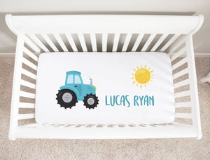 Blue Tractor Minky Personalized Crib Sheet Baby Bedding Boy