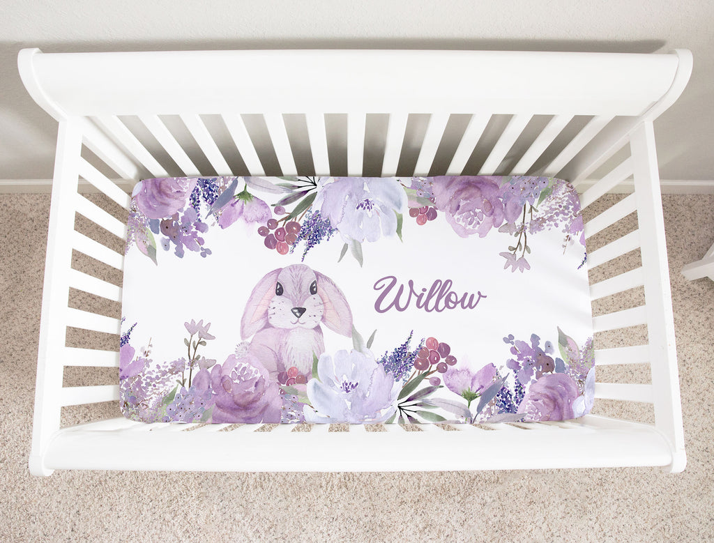 Willow Bunny Minky Fitted Crib Sheet Girl Nursery Decor