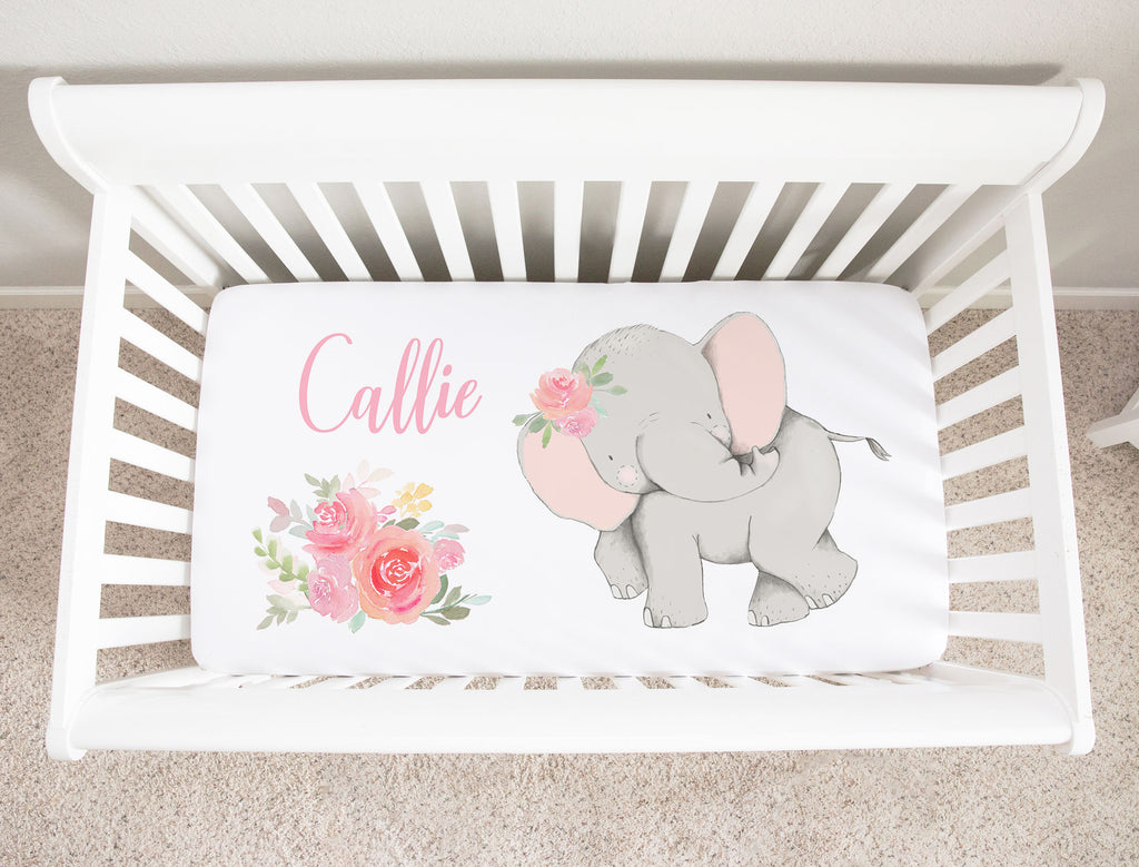 Callie Pink Elephant Personalized Minky Crib Sheet Baby Bedding