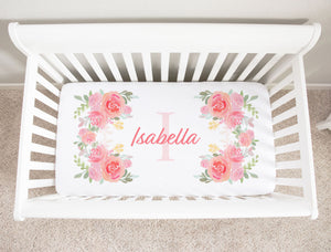 Isabella Floral Initial Personalized Minky Crib Sheet Girl Nursery Decor