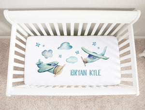 Vintage Airplane Minky Personalized Crib Sheet for Baby Boys'