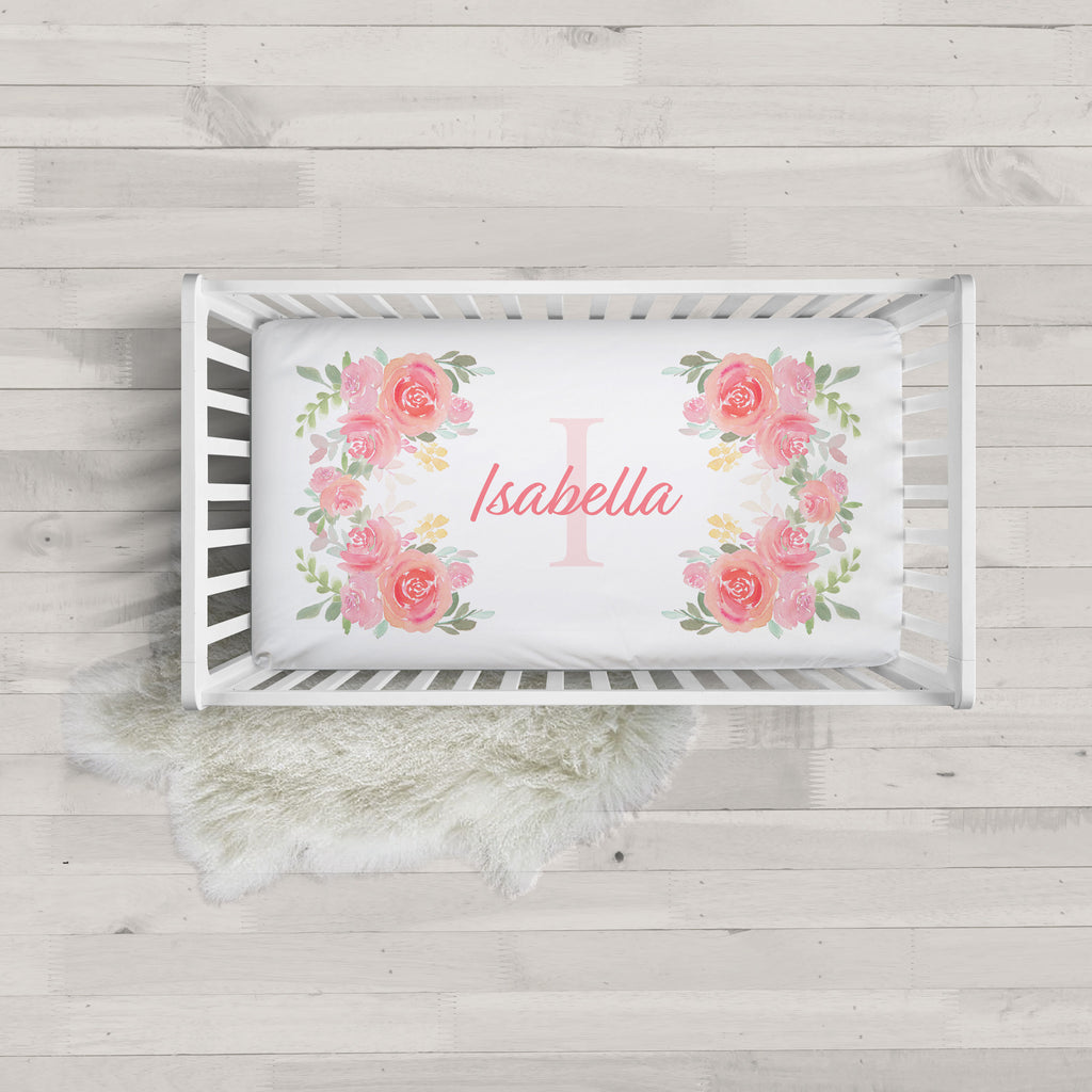 Isabella Floral Initial Personalized Minky Crib Sheet