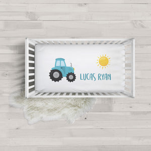 Blue Tractor Minky Personalized Crib Sheet