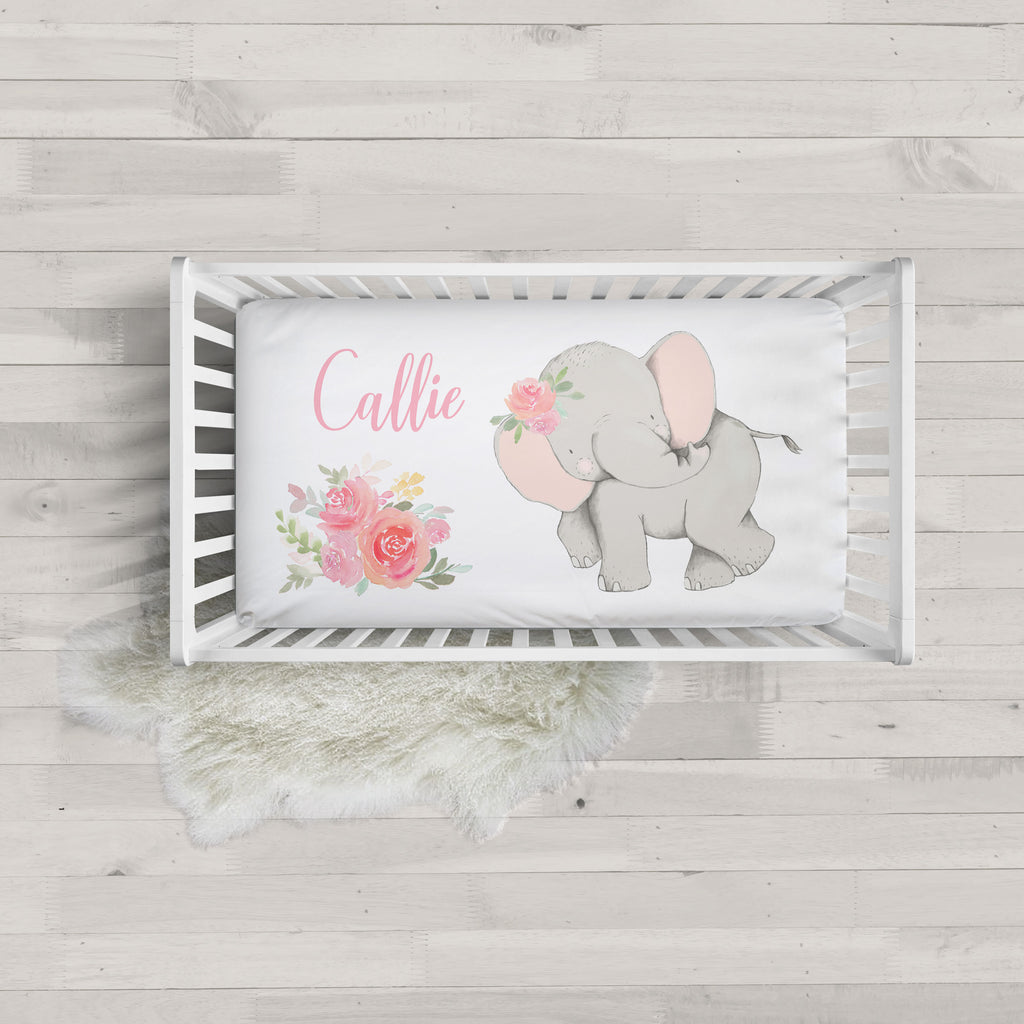 Callie Pink Elephant Personalized Minky Crib Sheet