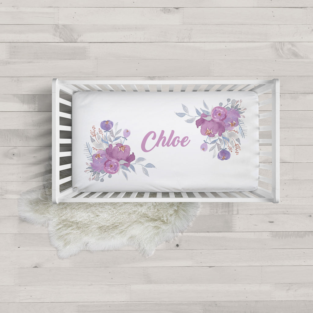 Chloe Purple Floral Minky Personalized Crib Sheet Baby Girl Bedding