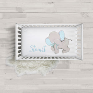 Stewart Blue Elephant Minky Personalized Crib Sheet