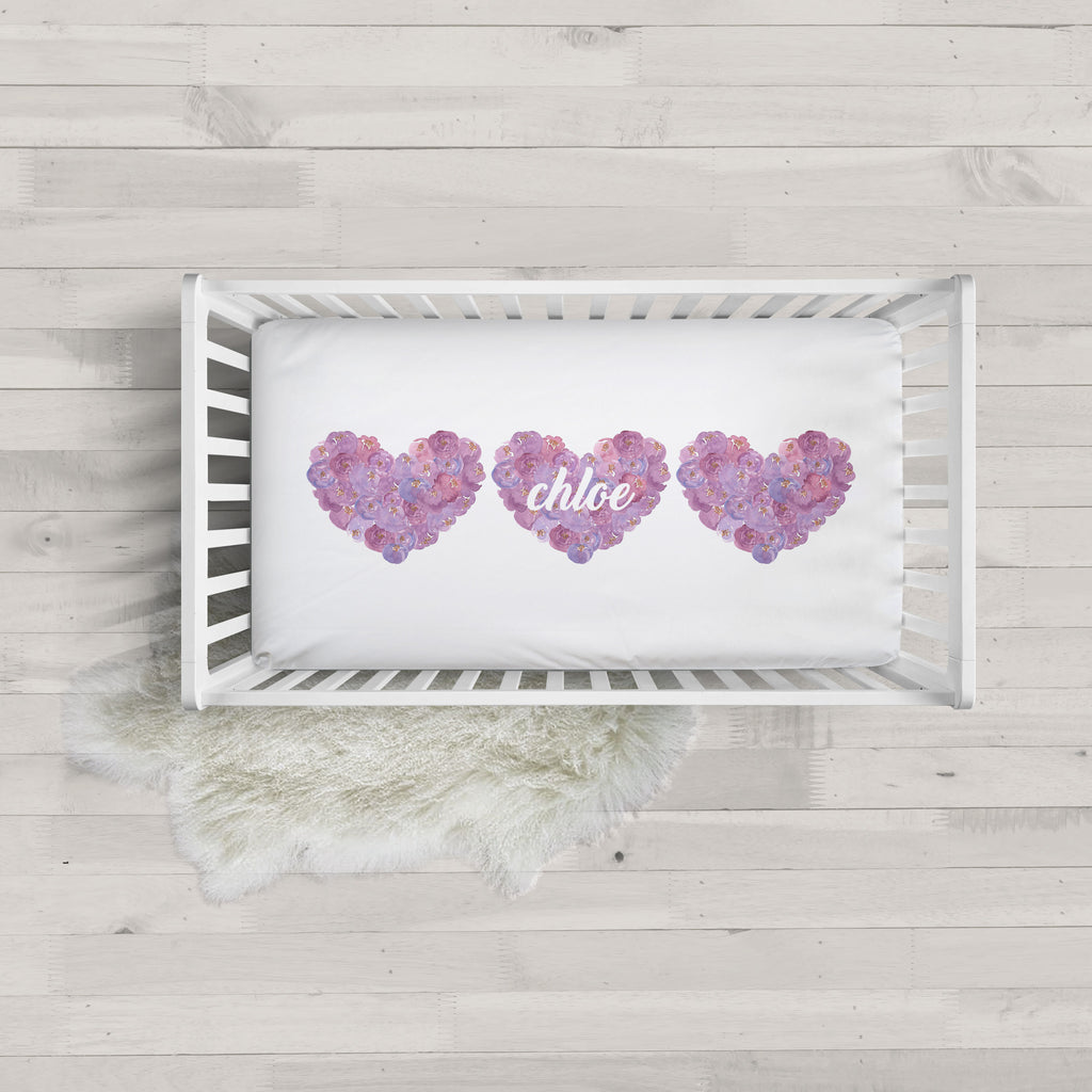 Purple Floral Hearts Minky Personalized Crib Sheet