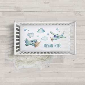 Vintage Airplane Minky Personalized Crib Sheet